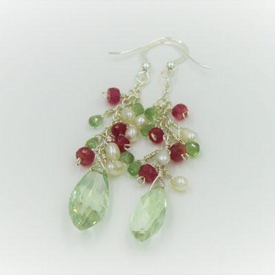 Green Amethyst Gemstone Earrings