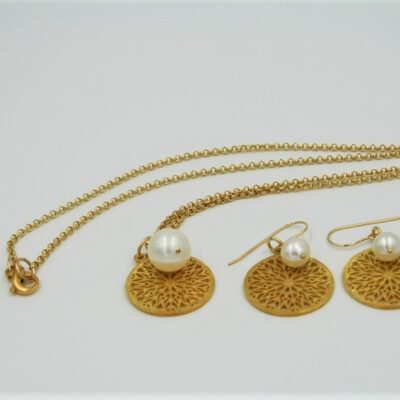 Mandala gold necklace and earrings set. Custom designed by Aleita Jewelry
