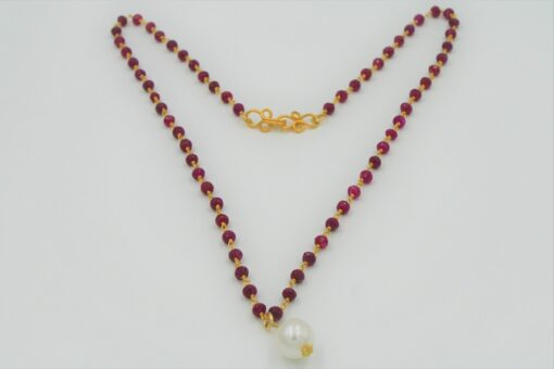 Red Ruby Chain Necklace with White Freshwater Pearl