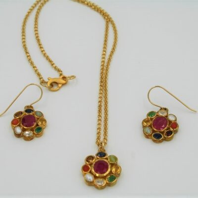 Multi-Gemstone Necklace Set with Gold Chain and Fastener