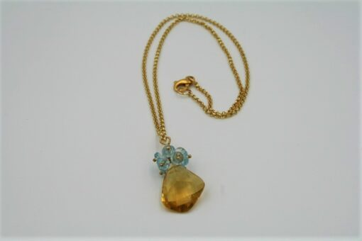 Citrine and Blue Topaz Gold Necklace