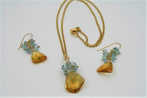 Yellow Citrine and Blue Topaz Gemstone Necklace Set
