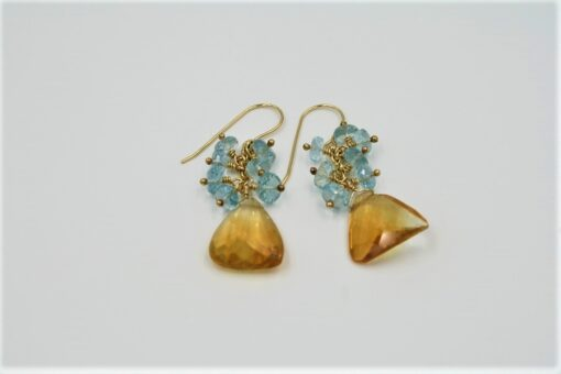 Citrine and Blue Topaz Gold Earrings