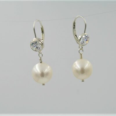 Freshwater Pearl Earrings with a large Swarovski Crystal and Sterling Silver