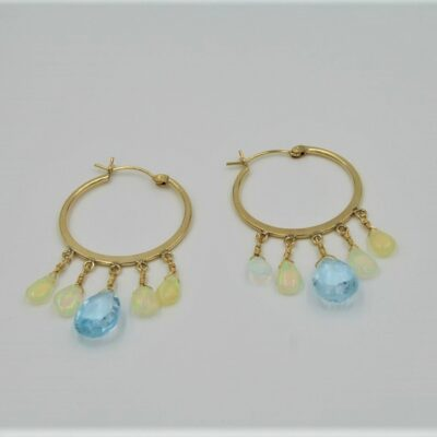 Blue Topaz with Blue Green Opaque Opals on 24k Gold Plate Hoops made by Aleita Jewelry