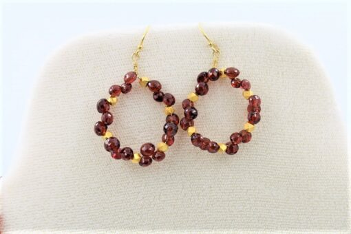 Round Red Garnet Earrings with tiny onion shaped garnets mixed with gold vermeil beads and gold fill ear wires. 1.25 inches long