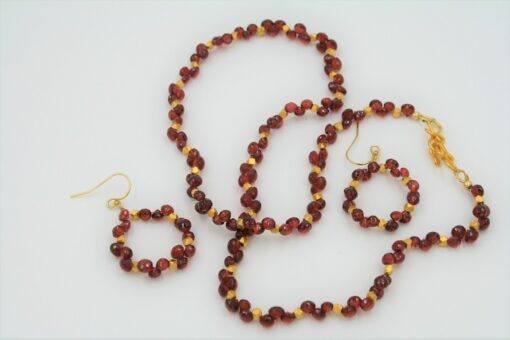 Red Garnet Necklace Set with trios of small onion shaped garnets mixed with Gold Vermeil beads and matching earrings