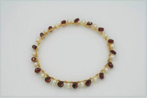 Red Garnet Gold Bracelet with White Round Fresh Water Pearls