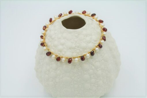 Red Garnet Gold Bracelet with White Fresh Water Pearls
